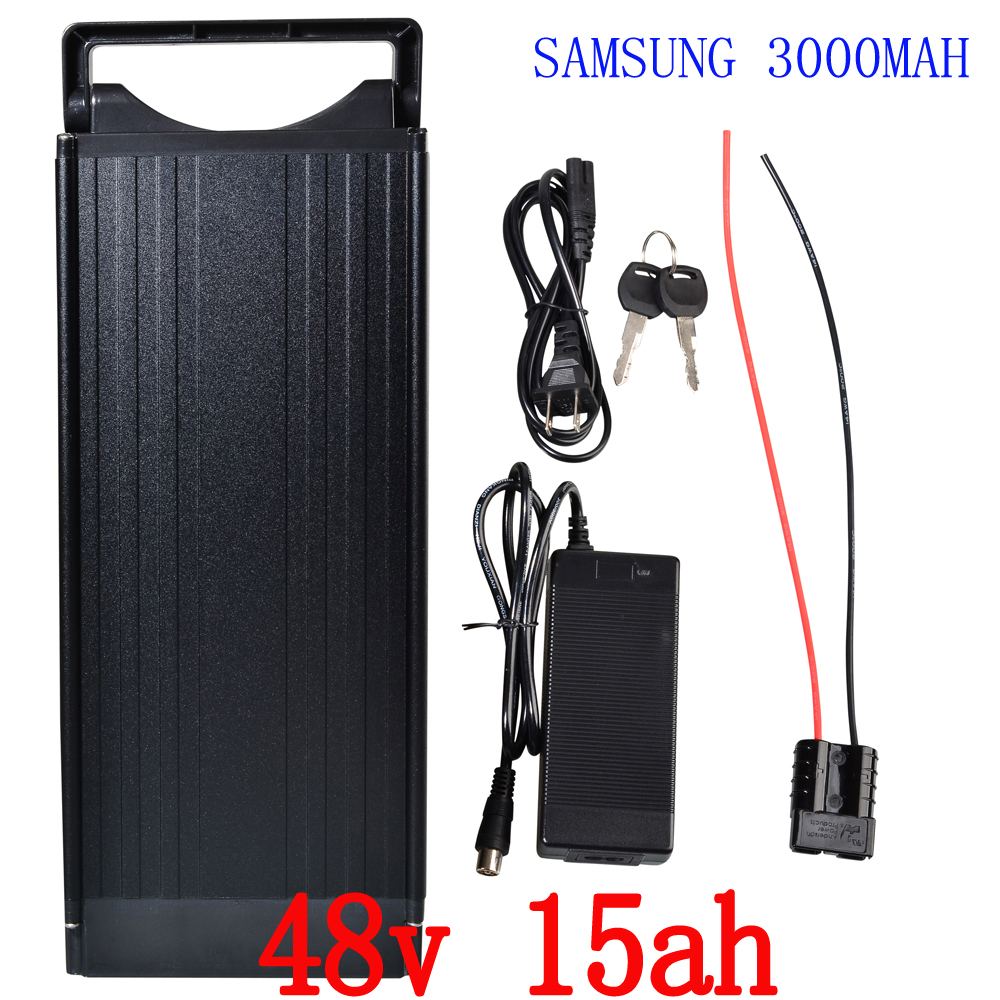 high quality 48v 15ah lithium ion ebike battery aluminium case bicycle electric bike battery 48v 750w 1000w with charger kit ebike 1000w lithium battery 48v 20 ah aluminium case rear rack bike electric bicycle lithium battery for samsung pack
