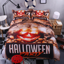 Halloween Witch pumpkin lantern 3D bedding set 4pcs duvet cover Pillowcases bed sheet bedroom decor Home textile bedclothes