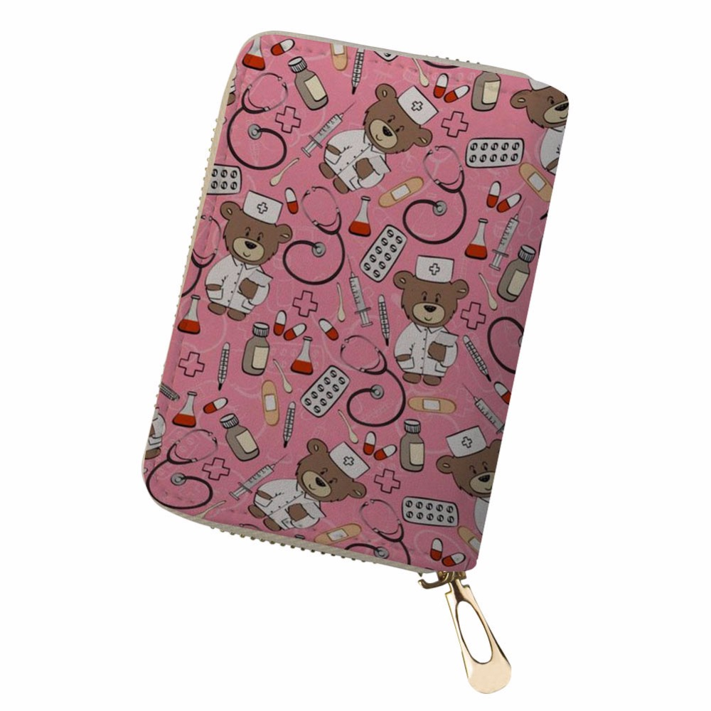 Customized shivering animals Clutch Bag Women Men Credit Business Bank Cards Holder Passport PU Leather pokemon card