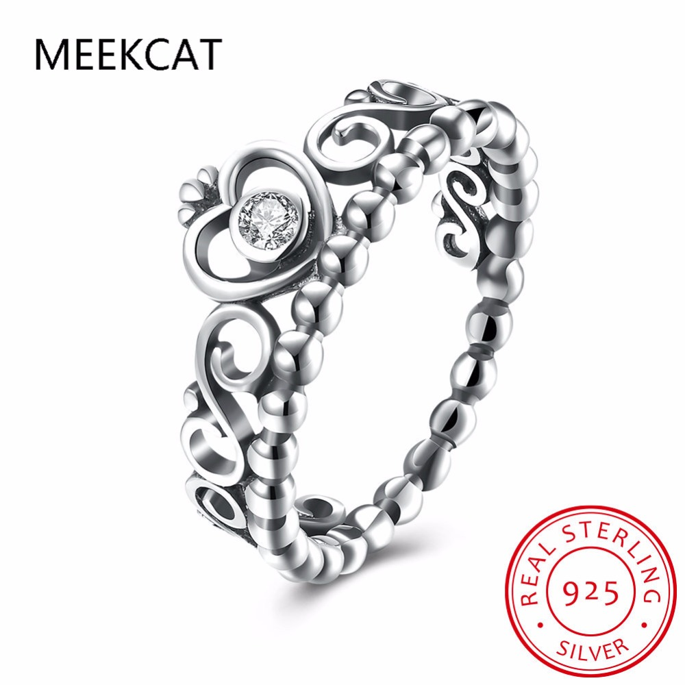 Meekcat 925 Sterling Silver My Princess Queen Crown Engagement Ring With  Clear Cz Authentic Sterling