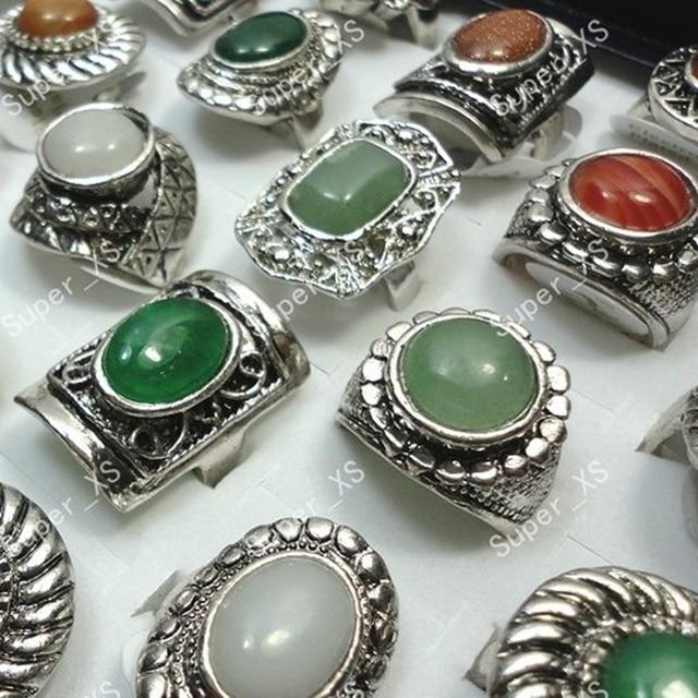 f4984db75d1e Nueva venta al por mayor de lotes de joyería.10 piezas de anillo de piedras