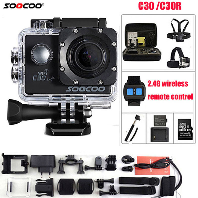 SOOCOO Action Camera C30R Remote control 4K NTK96660 Wifi Gyro Adjustable Viewing angle 170 Degrees Waterproof C30 Sport Camera car styling auto roof rack side rails bars baggage holder luggage carrier aluminum alloy for ford escape kuga 2013 2014 2015