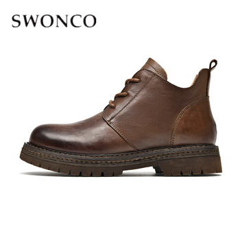 SWONCO Genuine Leather Snow Boot4s Women Block Heels Casual Shoes Female 2019 Autumn Ankle Boots Women Martin Boot Black Vintage