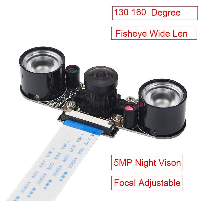5MP Raspberry Pi 3 Modelo B, modelo B + cámara de ojo de pez 130 cámara de 160 grados V5647 noche visión Focal ajustable cámara web para RPI 3