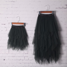 New Arrival mother daughter skirt Mid-calf Asymmetrical tulle skirts for girls matching mom daughter clothes big girl pettiskirt