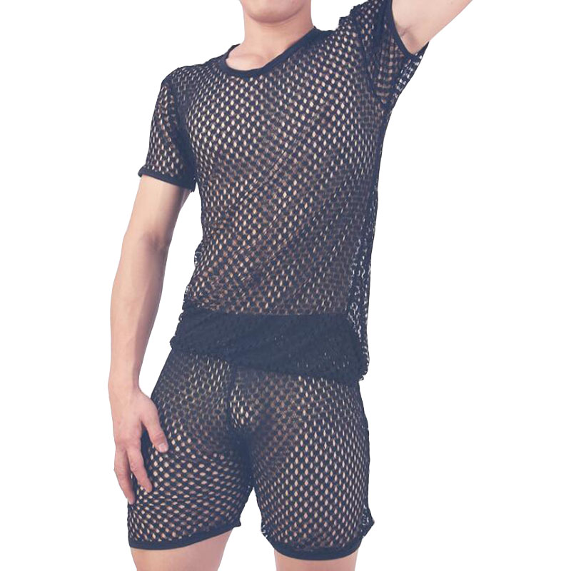 Pajamas Men Pijama Hombre Sexy Sleepwear Men Underwear Honeycomb Mesh Set Breathable Pyjama Homme Home Costumes Bielizna Nocna