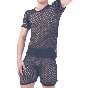 Pajamas men pijama hombre sexy sleepwear men underwear honeycomb mesh set breathable pyjama homme home costumes bielizna nocna - DISCOUNT ITEM  21 OFF Underwear & Sleepwears