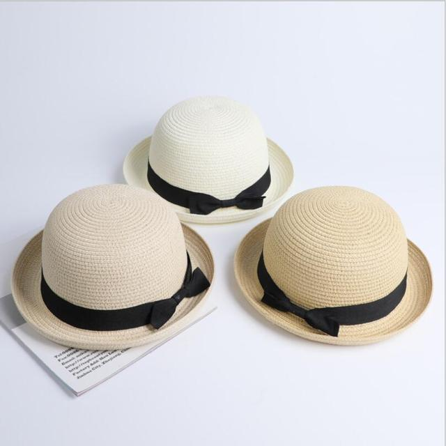 1f3d07d5 Lady Boater sun caps Ribbon Round Flat Top Straw Fedora Panama Hat summer  hats for women straw hat snapback gorras sun hats
