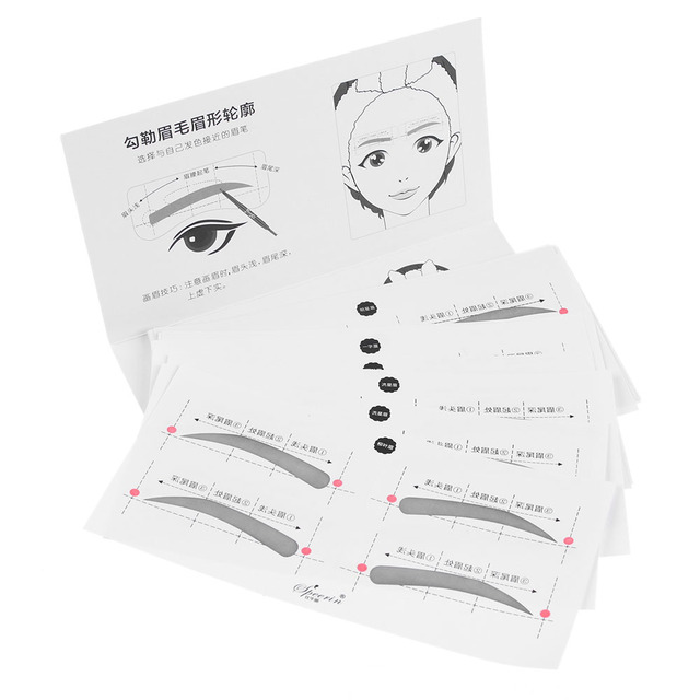 32Pairs/Set Fashion Professinal 8 Types Eyebrow Template Stickers Eye Brow Eyebrow Stencils Drawing Card Stencil Makeup Tools