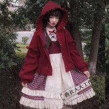 Плотное шерстяное пальто в стиле Лолиты; Новинка зимы; красное/черное/бежевое Женское пальто; плащ с капюшоном в японском стиле; милые женские пальто в готическом стиле для девочек; топы
