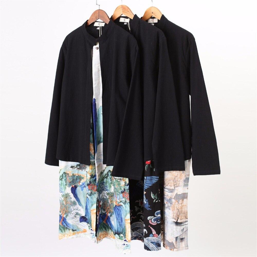 Traditionnel chinois lin chemises longues hommes à manches longues Stand chemises Vintage épissé ethnique tenue chemise camisa masculin DMF-4