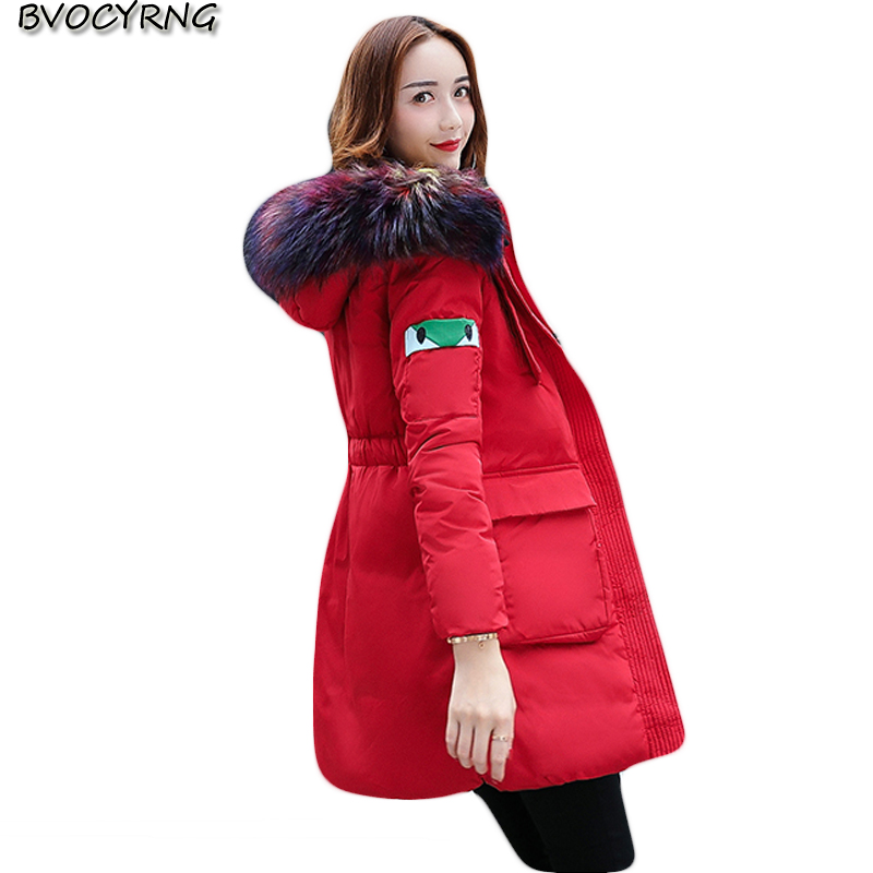 2017New Fashion Women Winter Parka Big yards Collars Medium Long Hooded Coat Thickening Warm Eiderdown Cotton Jacket Parka Q610 big yards for women s shoes in the fall and winter of 2016 high thickening bottom anti slip with warm confined new fashion shoes