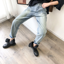Fashion Women Jeans Loose Light Blue Color Harlan Female Cool Long New High Street