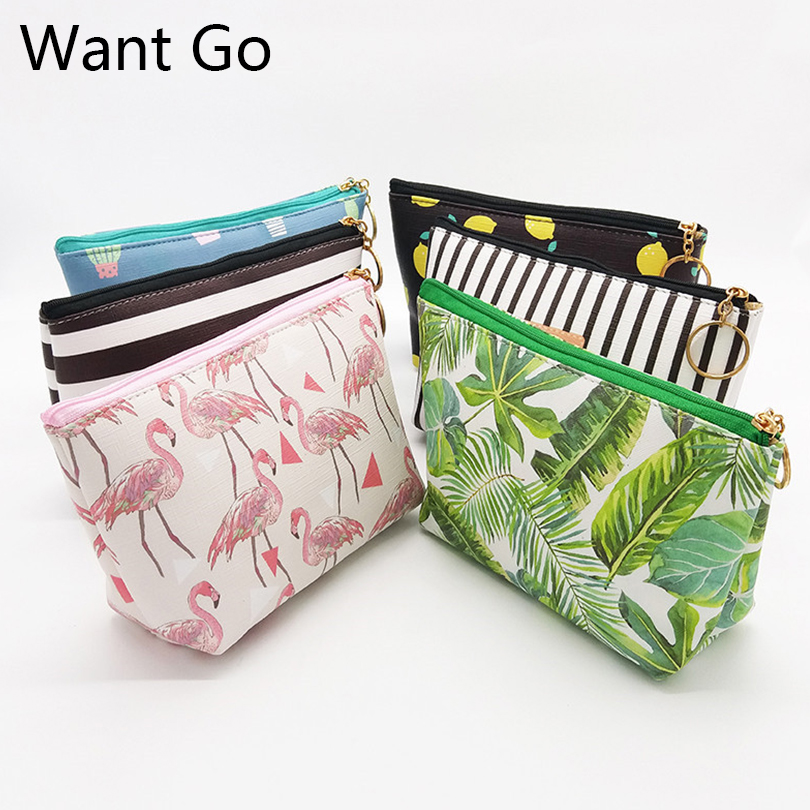Want Go Casual Print Women Cosmetic Cases Bag Pu Leather Makeup Bag Portable Travel Storage Pouches Large Capacity Toiletry Bag