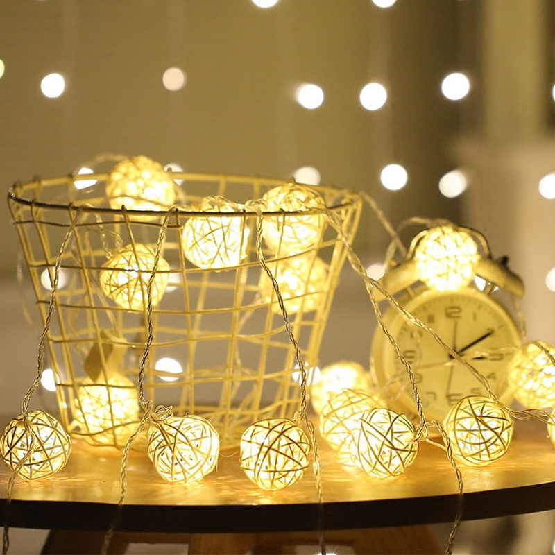 5m 20 Rattan Ball Led String Light Night Warm Christmas Xmas Lantern Wedding Garland Decoration Lights Fairy Lamps