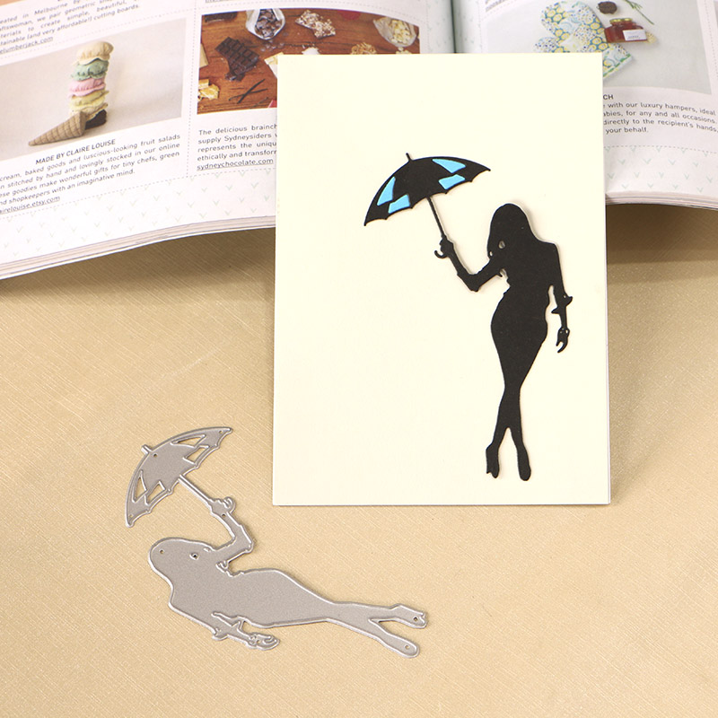 DUOFEN METAL CUTTING DIES 130282 Woman with Umbrella hollow embossing stencil DIY Scrapbook Paper Album 2018 new in Cutting Dies from Home Garden