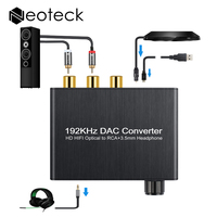 192Khz Digital To Analog Converter With Volume Control SPDIF Toslink To 3 5mm Jack RCA Support