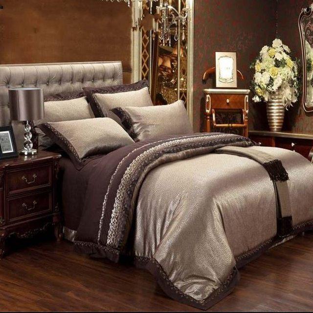 4/6pcs Brown Jacquard Satin Bedding Bedclothes set king Embroidery duvet cover queen silk/cotton bed sheet linen home textile