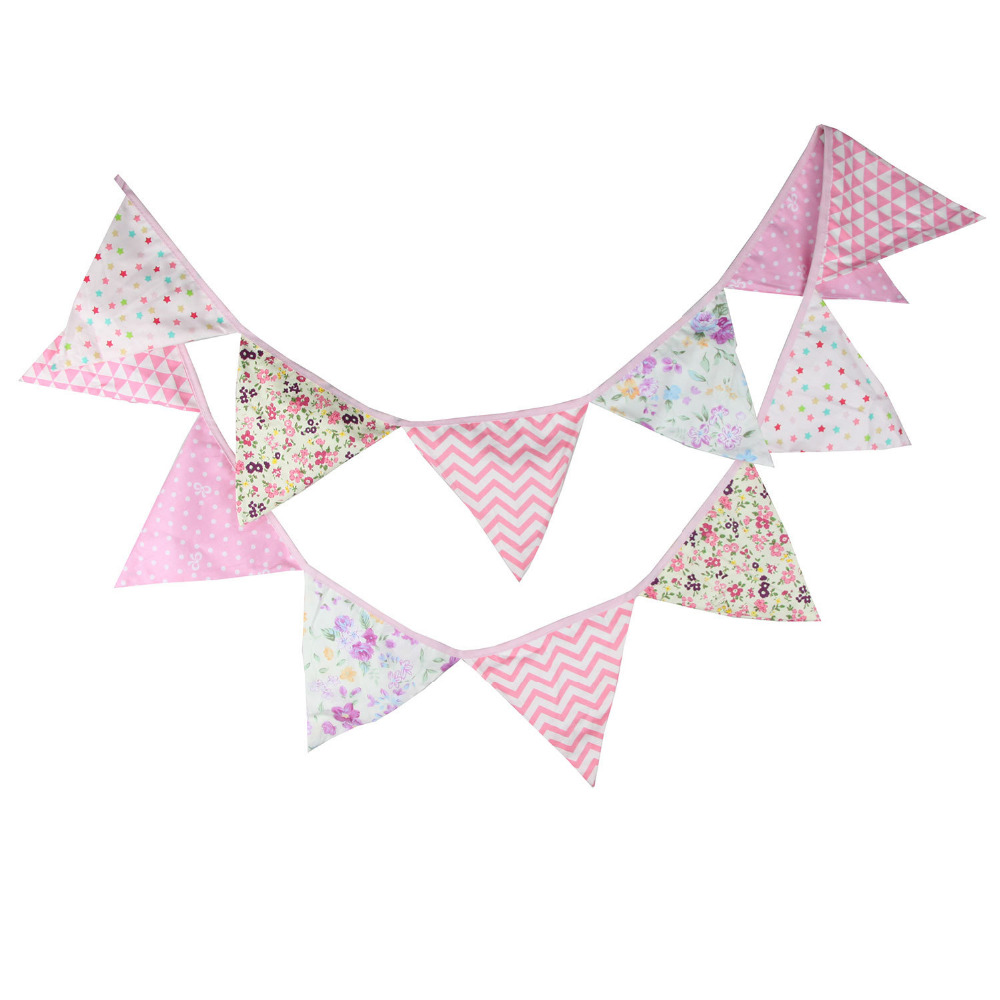 1pcs 3.2M Girl Baby Room Pink Color Decoration Pennant Children Birthday Party Favor Bunting Banners Cotton Fabric Garland Flags