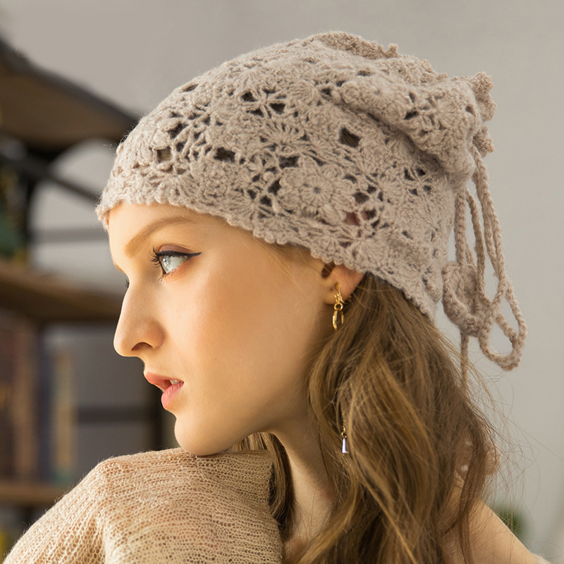 Hand woven autumn and winter women Skullies Beanies multi function collar knitted hats hood cute British