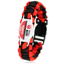 Diabetic Type 1 2 Medical Alert Red Black 25*18mm Glass Cabochon Outdoor Survival Paracord Charm Bracelets Men Women Jewelry