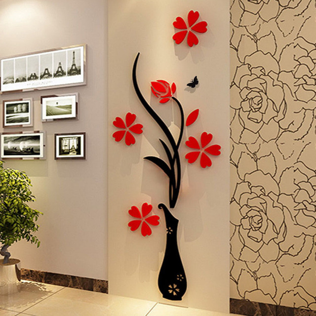 3D Plum Vase Wall Stickers Home Decor Creative Wall Decals Living Room  Entrance Painting Flowers For Part 50