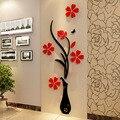 3d plum florero pared pegatinas de pared decoración tatuajes de pared creativo sala de estar entrada pintura flores para sala de decoración para el hogar diy