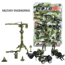 2018 Mini Teknik Set13pcs/Set Kamuflase Mini Teknik Truk Dump Truk Model Pullback Kendaraan Konstruksi Tower Mainan(China)