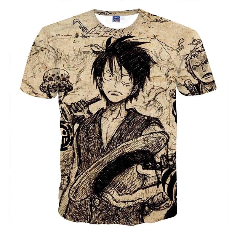 f7af8f491b81 Anime One Piece T-shirt Monkey D Luffy Zoro Chopper Ace Battle 3D Printed  Harajuku