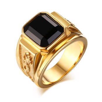 Mens Rins Stainless Steel Signet Ring with Black Stone for Men Gold color Club Party Wedding