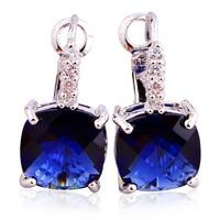 New Fashion Noble Sapphire Quartz  Dangle Hook Silver  Earring Fashion Jewelry Wholesale Free Shipping