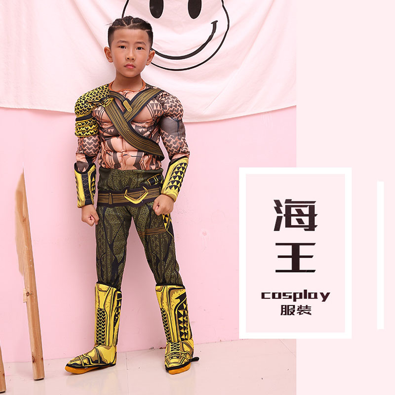 Kids Boys Cosplay Movie Muscle Aquaman DC costumes Children Justice League Dawn of Justice Aquaman costume for Halloween Party