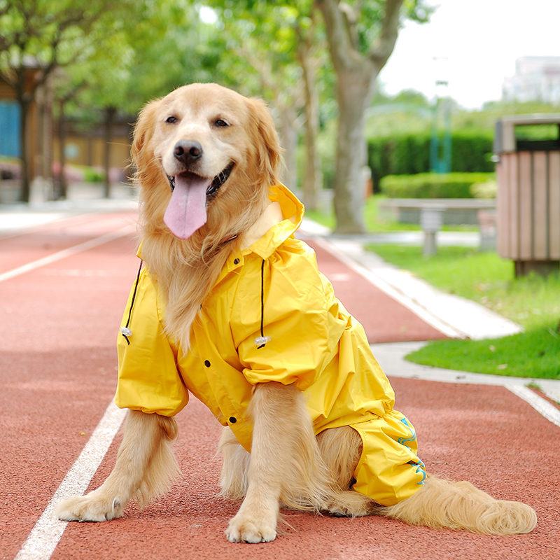 Dog raincoat for large dogs outdoor clothing waterproof big pet clothes rain coat With hat Size