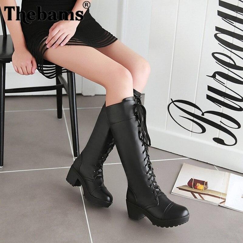 Thebams 2018 large sizes 34-48 Sexy high heels Knee-High Boots Woman Platform Winter women's Shoes add Fur Snow Boot female стоимость