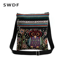 Owl Embroidery Thread Package Messenger Canvas Bags National  Casual Flap Small Bolsas For Girl Desigual Handbag Cheap Women Bag