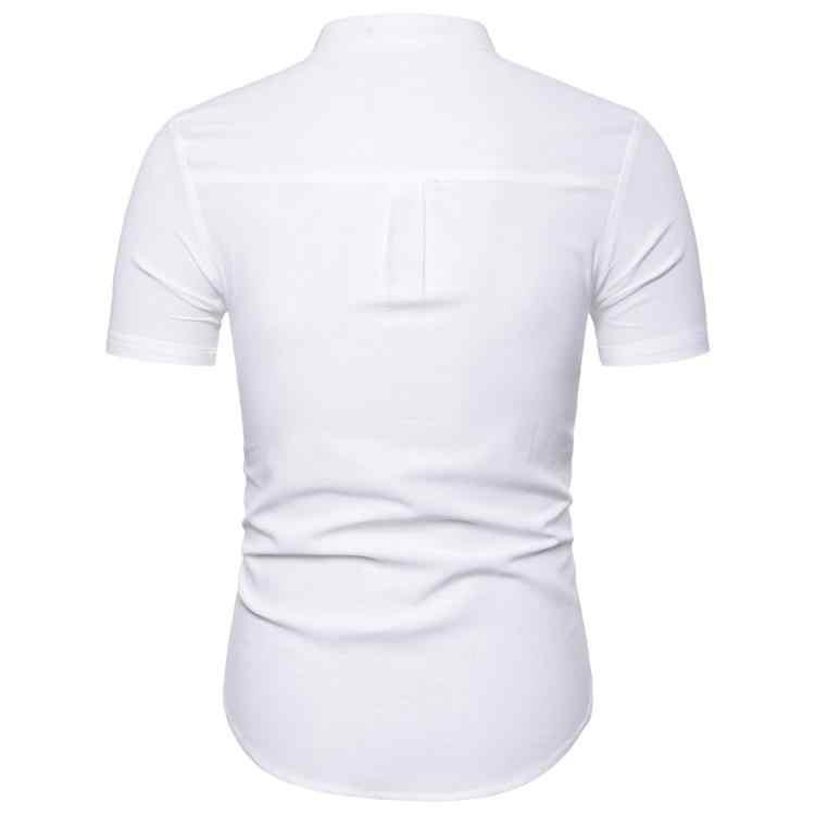 男性のシャツカジュアル半袖社会ブラウス男性リネンシャツ男性は襟無地綿新しい