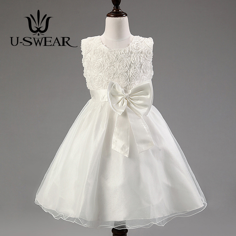 U-SWEAR Women 2018 New Arrival   Flowers   Kid Bow   Flower     Girl     Dresses   5 Colors Ball Gown For Wedding Communion   Dresses   Vestido