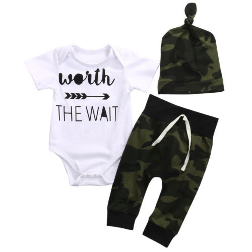Newborn Toddler Baby Boys Clothes Short Sleeve Letter Print Bodysuit Tops Camo Pants Hats Outfits Cotton Boy Clothes Set cd ac dc back in black remastered