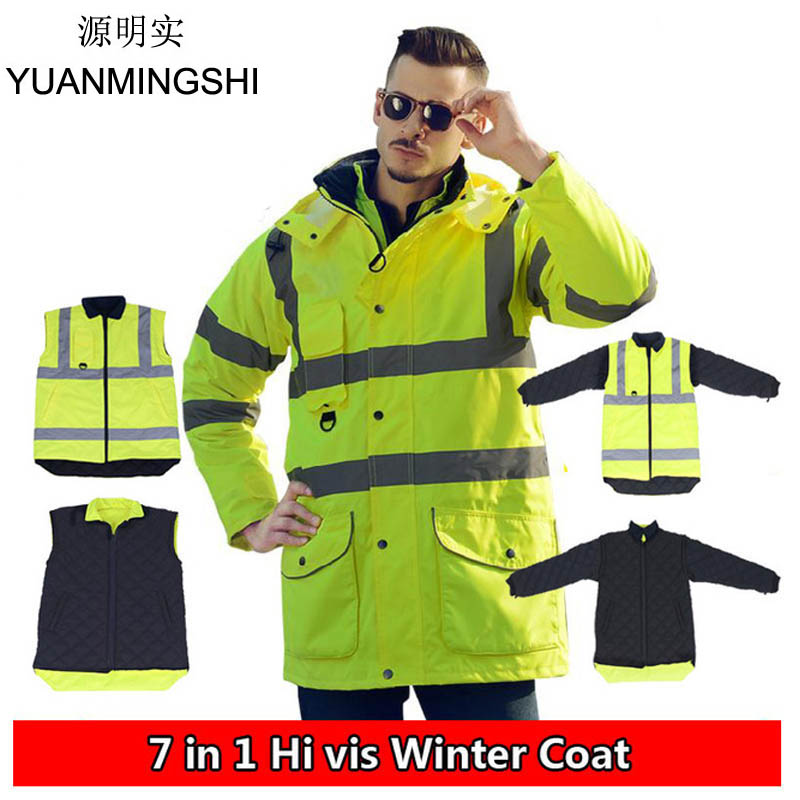 YUANMINGSHI High Visibility Winter Waterproof Windbreaker Workwear Rain Coat Motorcycle Reflective Safety Winter Jacket Clothing ccgk safety clothing reflective high visibility tops tee quick drying short sleeve working clothes fluorescent yellow workwear