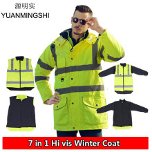 High Visibility Winter Waterproof Windbreaker Workwear Rain Coat Motorcycle Reflective Safety Winter Jacket Clothing hi vis en471 waterproof windproof breathable safety reflevtive workwear rain suit rain jacket rain pant free shipping