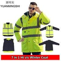 YUANMINGSHI High Visibility Winter Waterproof Windbreaker Workwear Rain Coat Motorcycle Reflective Safety Winter Jacket Clothing