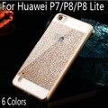 Bling de Lujo caja del teléfono para Huawei P8 lite/P8/Shinning Protectora de la contraportada para Huawei Ascend P7 P8 P7 P8lite Espumoso shell