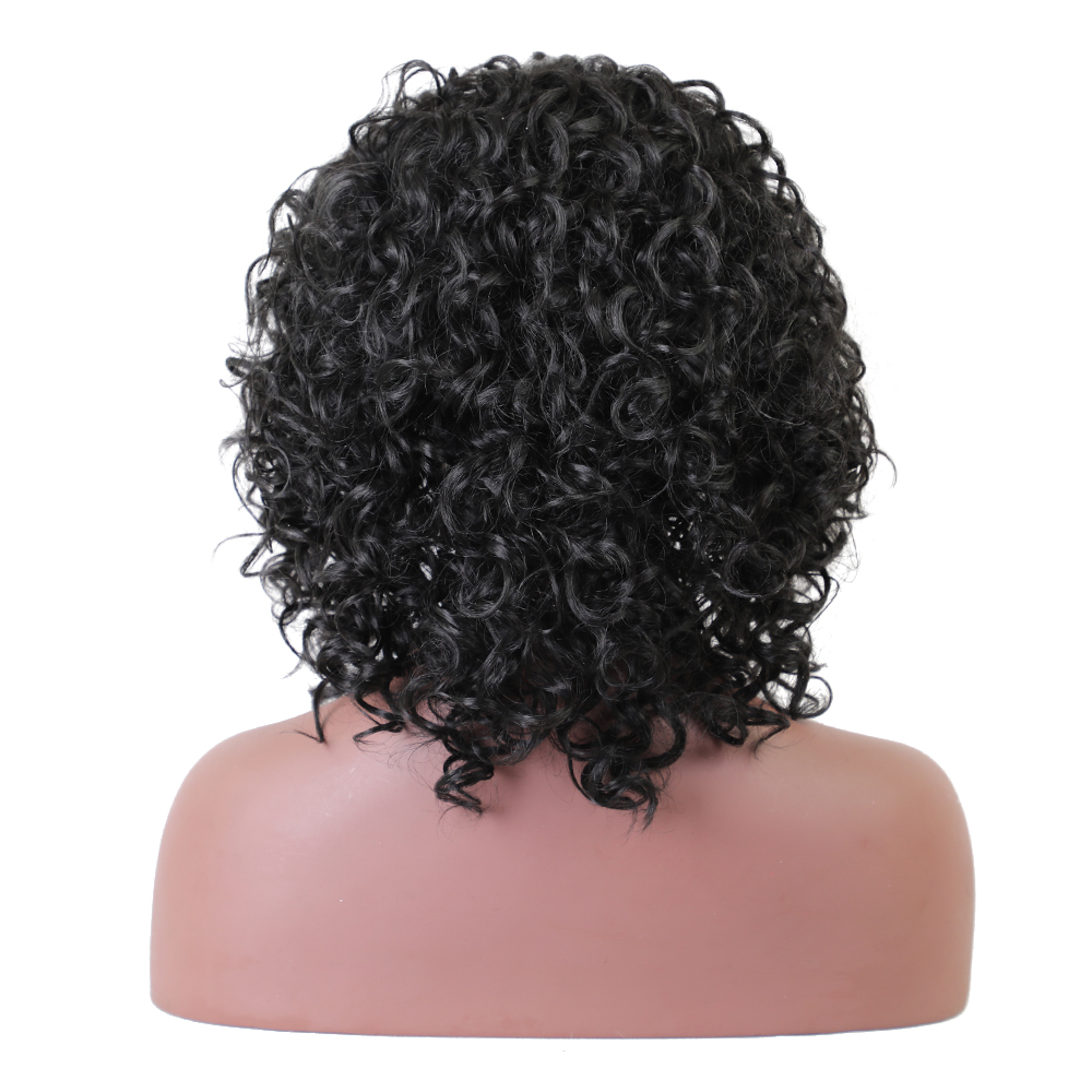 Element Glueless Side Part Kort Curly Afro L Parti Swiss Synthic Lace - Syntetiskt hår - Foto 4