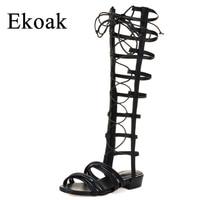 Ekoak New 2018 Summer Women Gladiator Sandals Fashion Genuine Leather Women Sandals Ladies Cross Tied Flat