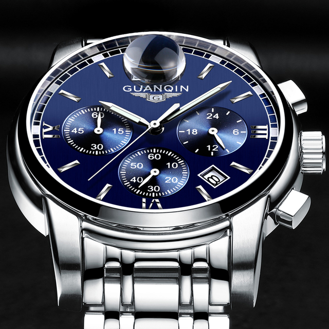 GUANQIN Mens Watch Luxury Business Quartz Watch Men
