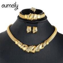 619c4a1f0d47 OUMEILY conjuntos de joyas de boda Africana perlas joyería conjunto para  las mujeres de Color oro Dubai indio novia turco traje .