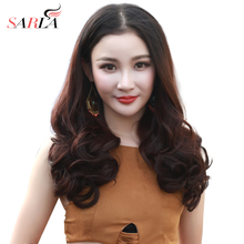 все цены на SARLA Curly U Part Clip in Half Wig For Women Synthetic Brown Wavy Hair Wig 20'' 3/4 Natural Hair Extension Wig UW10