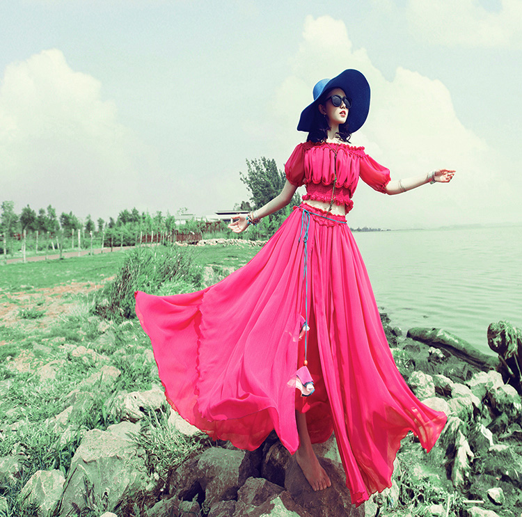 Soie Skirt Haute D'été Fée Jupe Taille Maxi De Mousseline Longues Red Swing Voyage 2018 Rouge Grand Femmes Couleur Unie Jupes CqqnRwOHx
