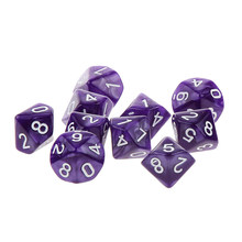 Numeral 10 pcs 10 Sided Plastic Polyhedral Dice Set Roxo Tabela Board Game Acessórios para Dungeons & Dragons Dices(China)