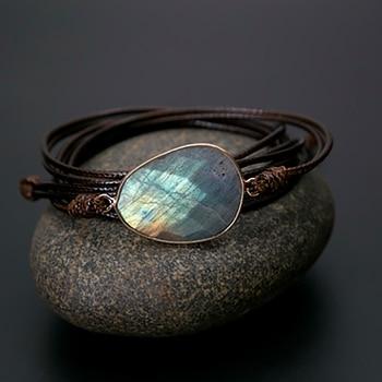 Bracelet enroul de corde avec des pierres naturelles Long Bracelet d amiti Labradorite Boho Unique et